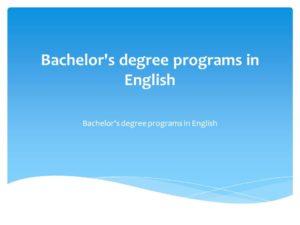 Bachelor's degree programs in English