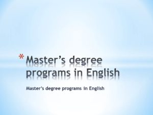Master's degree programs in English